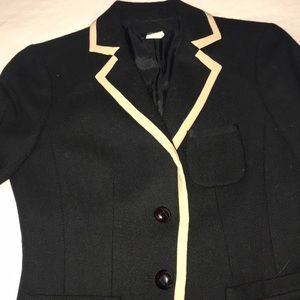 J. Crew Jackets & Coats - Jcrew black wool blazer with cream piping
